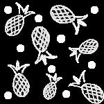 Many pineapples strewn between polka dots